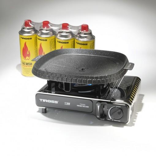 Zestaw do grillowania: kuchenka turystyczna, patelnia grillowa i gaz butan