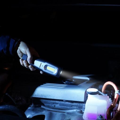 Akumulatorowa lampa warsztatowa ze stacją dokującą